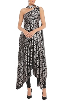 Black Printed One Shouldered Anarkali Set by Masaba