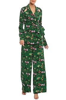 Dark Green Basil, Deer & Forest Printed Blazer Set by Masaba