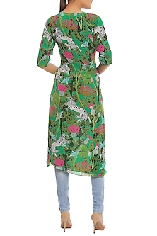 Green Printed Cut Out Ruched Tunic by Masaba