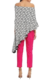Black Bird Grid Printed Off Shoulder Top With Cabaret Pink Pants by Masaba