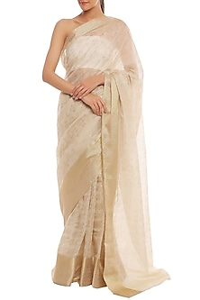 Golden & White Printed Banarasi Saree Set by Masaba