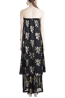 Black Lannister Gold Sigil Off Shoulder Dress With Sheer Pants by Masaba X GOT