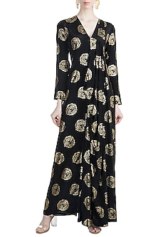 Black Targaryen Gold Sigil Gown Saree by Masaba X GOT
