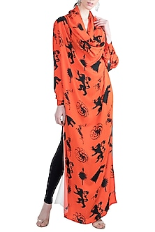 Black & Red Sigil Storm Printed Hoodie Tunic by Masaba X GOT