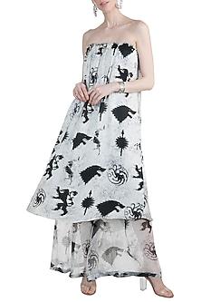 Ivory Sigil Storm Off Shoulder Dress With Sheer Pants by Masaba X GOT