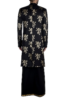 Black Lannister Gold Sigil Trench Coat With Lungi & T-Shirt by Masaba Men X GOT