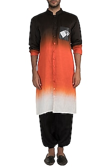 Black & Orange Ombre Kurta With Stark Sigil Pocket by Masaba Men X GOT