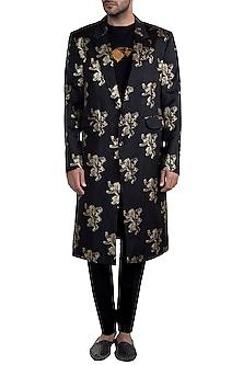 Black Lannister Gold Sigil Trench Coat by Masaba Men X GOT