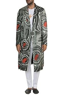 Black & White Wall Of Stark Trench Coat by Masaba Men X GOT
