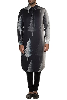 Black Charcoal Tree Kurta by Masaba Men X GOT