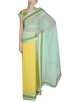 Sea Green And Yellow Dori Embroidered Saree With Yellow Dabka And Sequins Embellished Blouse by Ashutosh Murarka