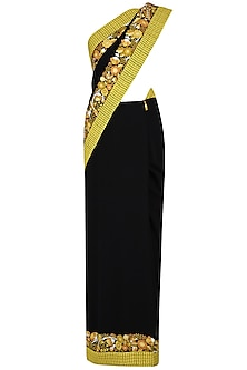 Black And Mustard Yellow Thread Embroidered Saree With Yellow Sequins And Swarovski Beads Embellished Blouse by Ashutosh Murarka