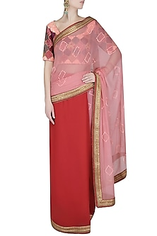 Coral And Pink Sequinned Embroidered Saree With Coral Thread Work Blouse by Ashutosh Murarka