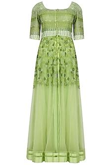 Mango Green Kalidaar Kurta With Sheer Embroidered Floor Length Jacket And Churidaar Pants Set by Ashutosh Murarka