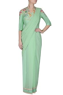 Pepper Mint Green Pre-Stitched Dori Embroidered Saree With Green Peplum Style Jacket by Ashutosh Murarka