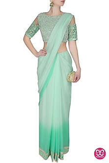 Sea Green Ombre Shaded Pre-Stitched Pleated Drape Saree With Dori Embroidered Matching Blouse by Ashutosh Murarka