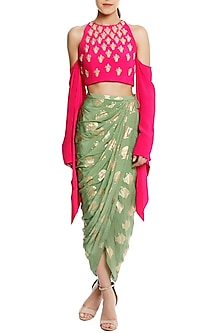 Pink Embellished Cold Shoulder Blouse with A Mint Green Draped Skirt by Masaba