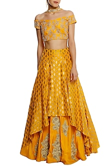 Yellow Embroided High-Low Lehenga Set.