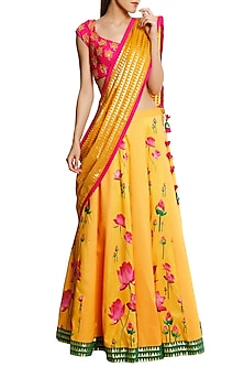 Fuschia Pink Blouse with Dual Shade Lehenga and Yellow Brocade Dupatta by Masaba