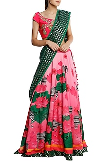 Pink Flower Pot Embroidrey Blouse with Pink Lehenga and Zari Brocade Dupatta by Masaba
