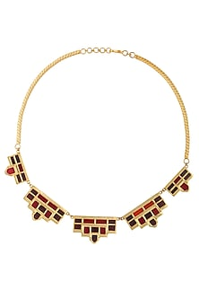 Gold Plated Maroon Mosaic Glass Stone Geometric Stone Necklace by Malvika Vaswani