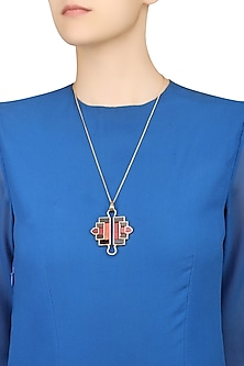 Gold Plated Red Mosaic Satin Glass Stones Geometric Shape Tassel Necklace by Malvika Vaswani