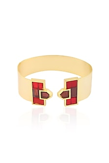 Rose Gold Plated Red Mosaic Cuff by Malvika Vaswani