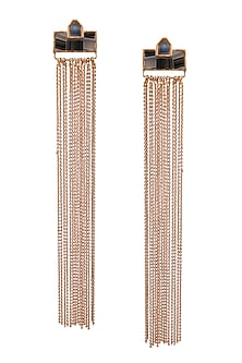 Gold Plated Triple Mosaic Earrings by Malvika Vaswani