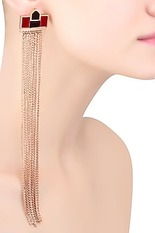 Rose Gold Mosaic Sheet Of Chains Earrings by Malvika Vaswani