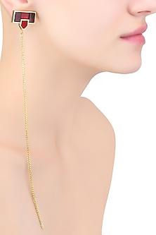 Gold Mosaic Sheet Of Chains Earrings