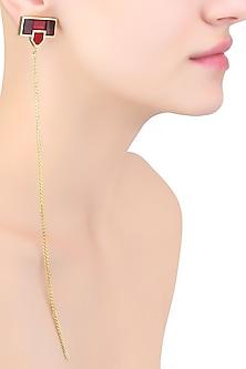 Gold Mosaic Sheet Of Chains Earrings by Malvika Vaswani