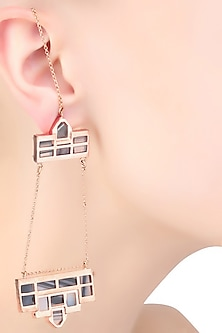 Rose Gold Plated Grey Mosaic Satin Glass Stones Dangler Earrings