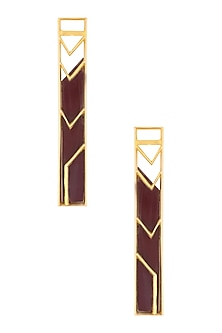Gold Plated Maroon Satin Rectangle Earrings by Malvika Vaswani