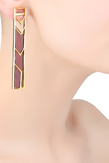 Gold Plated Maroon Satin Rectangle Earrings