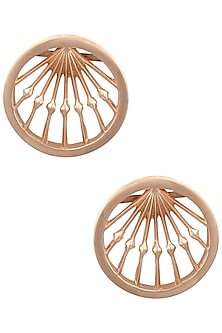 Rose Gold Double Fresco Round Earrings by Malvika Vaswani