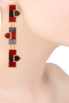 Gold Plated Maroon Triple Mosaic Earrings