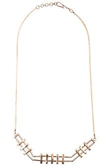 Rose gold plated slat necklace by Malvika Vaswani
