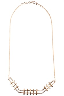 Rose gold plated slat necklace by Malvika Vaswani