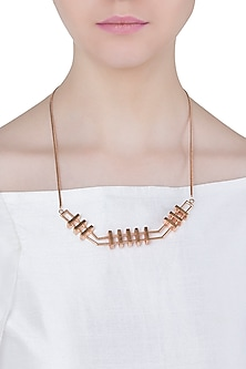Rose gold plated slat necklace