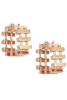 Rose gold plated slat hoop earrings by Malvika Vaswani