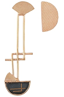 Rose gold plated semi circle earrings by Malvika Vaswani