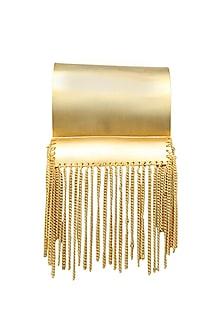 Gold plated Cordoba Con La Cadena cuff by Malvika Vaswani