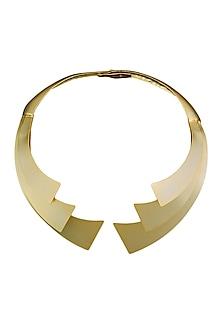Gold plated Cordoba grande necklace by Malvika Vaswani