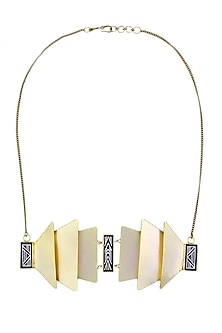 Gold plated Cordoba pequeno bidri necklace by Malvika Vaswani