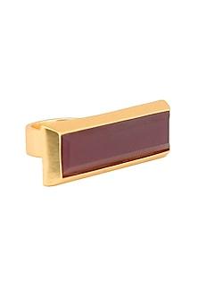 Gold plated bidri capsule rectangle ring by Malvika Vaswani