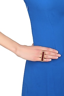 Gold plated bidri capsule rectangle ring by Malvika Vaswani