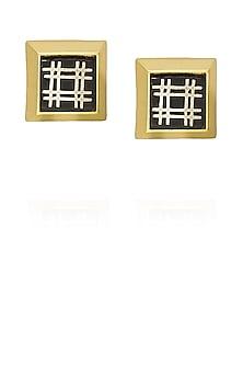 Gold plated capsule square bidri stud earrings by Malvika Vaswani
