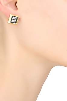 Gold plated capsule square bidri stud earrings by Malvika Vaswani