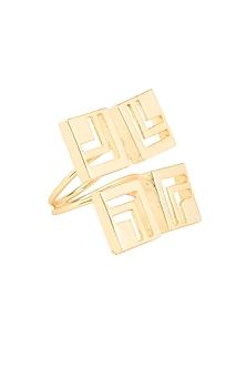 Gold plated capsule square screen ring by Malvika Vaswani
