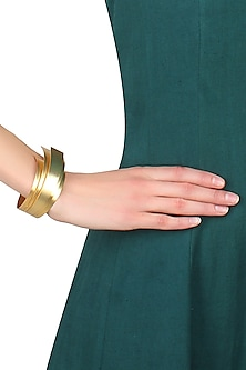Gold plated Cordoba tres layer cuff by Malvika Vaswani